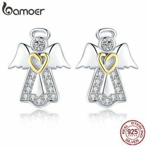 BAMOER REAL 925 Sterling Silver Stud Earrings Guardian angel With CZ For Women