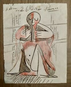 PICASSO colored pencil sketch on paper, signed, no print or repro, unframed