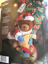 "Christmas Bucilla STOCKING FELT Applique Holiday Craft Kit,SANTA BEAR,86062,18"""