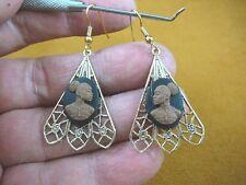 CAE1-25) RARE African American LADY black + brown CAMEO dangle Earrings JEWELRY