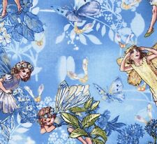 Cicely Mary Barker Flower Fairy Fairies Sky Characters on Blue Fabric - FQ