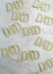 6 Gold Happy Fathers Day Cupcake Toppers with Gem