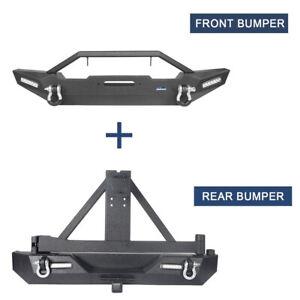 Hooke Road Front Rear Bumper w/ Lights & Tire Carrier For 97-06 Jeep Wrangler TJ