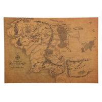 Middle Earth Map Poster Lord Of The Rings The Hobbit Movie Wall Art Book Realm