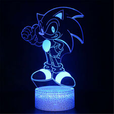 Acrylic LED Sonic the Hedgehog 3D Night Light Touch Table Desk Lamp Xmas Gift