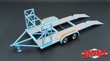 TANDEM CAR TRAILER GULF OIL W/ TIRE RACK 1:18 SCALE DIECAST MODEL BY GMP 18835
