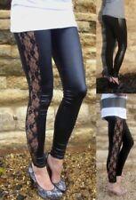 NEW WOMEN/'S LACE//LEOPARD//SHINY SIDE PANEL FULL LENGTH LADIES LEGGINGS SIZE 8-20