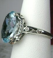 5ct *Aquamarine* Sterling Silver Edwardian/Deco Filigree Ring {Made To Order}#70