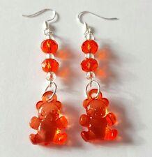 New Handmade Red Glass Rondelle Beads and Acrylic Teddy Bear Charm Earrings