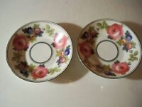 2 PHOENIX CHINA CECHO SLOVAKIA PINK ROSES BLUE FLORAL BERRY BOWLS 5 1/8 ''