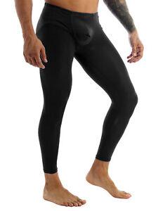 #L Sexy Mens Sheer Thin Ice Silk Compression Long Johns Tights Pants Underwear