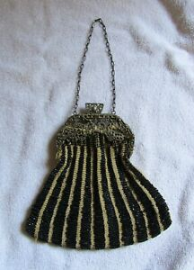Antique Victorian Design Cloth Silver Metal & Beads Beaded Beadwork Bag Purse