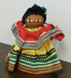 """Vintage 5"""" Seminole Florida Native American Palmetto Palm Husk Cone Doll"""