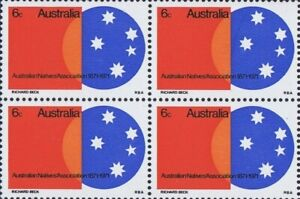 1971 Australian Stamps Block 4x6c Centenary Natives Assoc - Southern Cross Issue