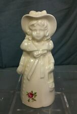 """Vintage Girl with Flower Dress and Hat Porcelain Bell Legs Clapper 5.5"""" tall"""