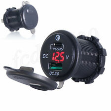 Motorcycle LED Digital Fast Charger USB + Type-C Adapter Power Outlet Socket 1x
