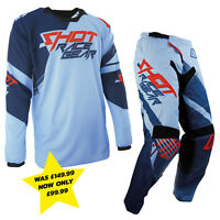 SHOT CONTACT CLAW CLEARANCE MOTOCROSS ENDURO MX COMBO KIT RED BLUE PANT & JERSEY