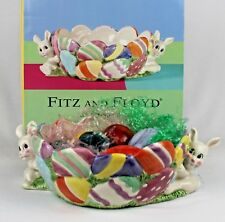 "Vintage Fitz & Floyd ""Gathering Eggs"" Candy Bowl & 6 Marble Eggs - Easter Decor"