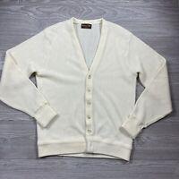 Vintage Botany 500 Cardigan Sweater Mens M Ivory Grandpa Knit Acrylic USA G6