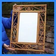 Vintage 70s Boho Bamboo Mirror / Shabby Chic / Bohemian Mirror