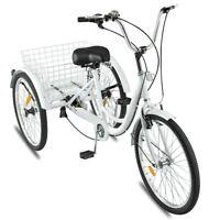 NEW Adult Tricycle 24'' 7-Speed 3 Wheel Trike Shopping Bike Riding W/Basket US