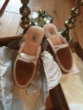 ORIGINALE Ugg Pelle Di Pecora Pantofole Marrone Taglia 3.5 NUOVO CON ETICHETTE & Box
