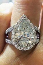 Certified 2.86Ct Pear White Diamond Halo Split Shank Wedding Ring 14K White Gold