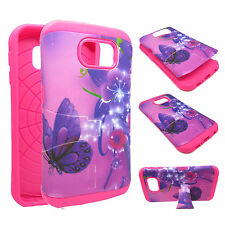 For Samsung Galaxy S6 KickStand Hybrid Tuff Purple Flower Butterfly Case Cover Y