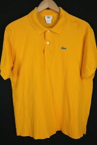 Lacoste Mens sz 6 US Large Yellow Mesh Short Sleeve Polo Shirt