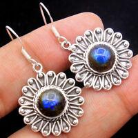 925 Sterling Silver Flashy Blue Labradorite Gemstone Natural Dangle Earrings