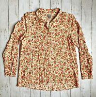 J. JILL Sz S Red Floral Printed Soft Rayon Long Sleeve Button Down Blouse Shirt