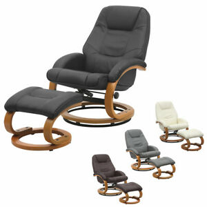 Adjustable Manual Reclining Armchair Faux Leather Sofa Swivel Lounge Chair Stool