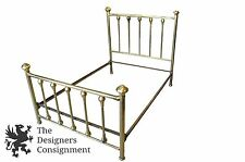 Antique Early 20th Century Victorian Style Brass Bed Full Size Spindle Back