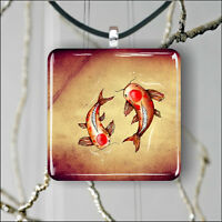 KOI FISH ASIAN STYLE DRAWING SQUARE PENDANTS NECKLACE MEDIUM OR LARGE -jin7Z