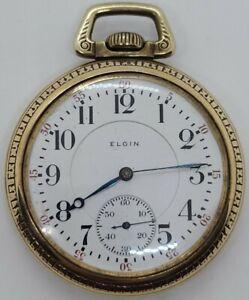 Antique Working 1925 ELGIN Art Deco Gold Base Metal Gents Pocket Watch 16s