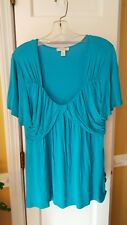 Boston proper womens turquoise short sleeve low cut tunic style top size L