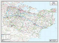 KENT COUNTY WALL MAP - LAMINATED EDITION - COUNTY MAP OF KENT.