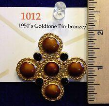 Vintage 1950's Goldtone Bronze/Black Enamel Brooch