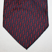 NEW Bergamo New York Silk Neck Tie Dark Blue Navy with Burgundy Pattern 1379