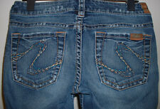 SILVER TINA LOW RISE BOOT CUT STRETCH JEANS SIZE 27/33 (Short)