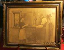 R Hendrickson Print Signed Framed ~ Older Man, Young Woman Apron ~ Machine