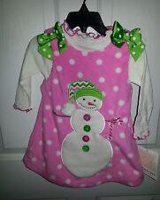 BONNIE JEAN Baby Girl's 2 pc Snowman Christmas Holiday Dress Sz 18 months SOCUTE