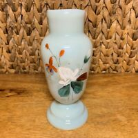 19th C Bohemian Art Nouveau Opaline HARRACH Vase Enamelled Hand Blown Art Glass