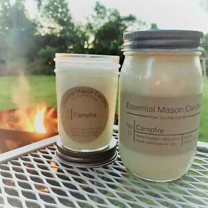Scented Soy Wax Candle - Hand Poured & Highly Scented - Campfire