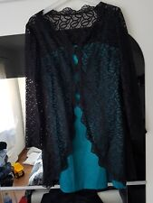 Missguided Fearne Cotton 2 Piece Teal Dress+ Black Lace Blazer Size 12 14