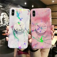 Laser Marble Pattern Stand Holder TPU Case Cover iPhone XS Max XR X 6S 7 8 Plus