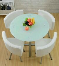 Glass Dining Table and 4 Chairs (Square and Round) designs space saver,