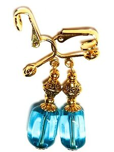 GOLD TURQUOISE CLIP-ON EARRINGS unique chic vintage gypsy retro boho drop style