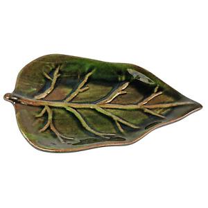 "L'Occitane en Provence Green Verbena Leaf Ceramic Pottery Soap Trinket Dish 5.5"""