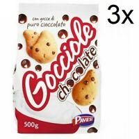 3x Barilla Pavesi Gocciole Breakfast BiscuitsCookies with Chocolate Drops 500g